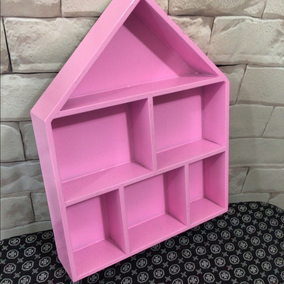 Vintage Pink Shadow Box House Wall / Shelf